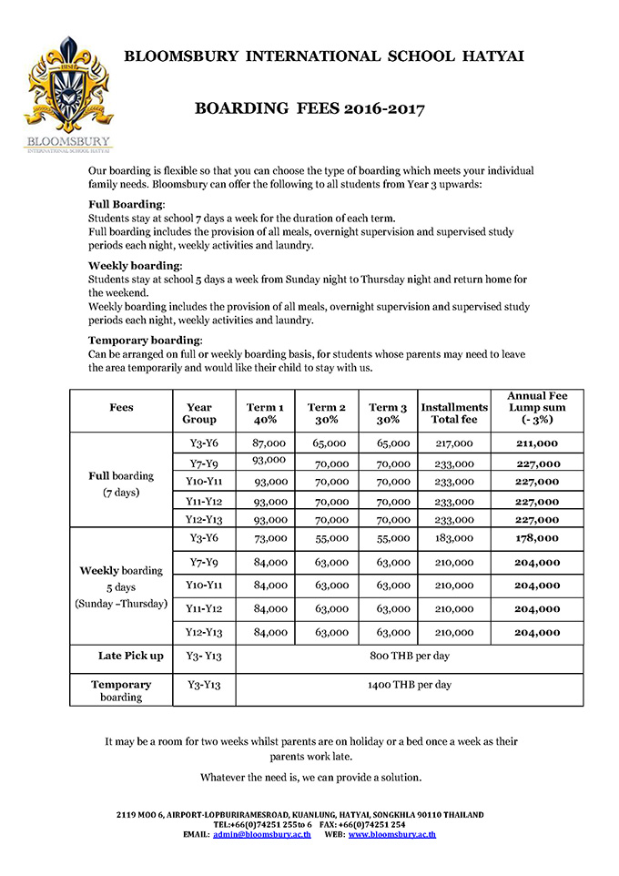 BLOOMSBURY Boarding Fees 2016-2017